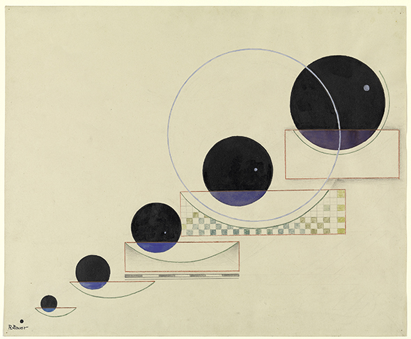 Rudolf Bauer (1889-1953); Space, 1932; Ink, watercolor, pastel, and graphite on paper; 16 x 19 inches (40.6 x 48.3 cm); Solomon R. Guggenheim Museum, New York; Solomon R. Guggenheim Founding Collection, By gift; 41.146
