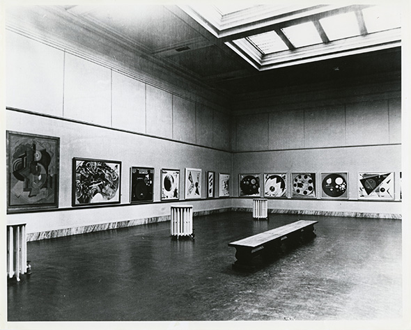 First Exhibition of the Guggenheim Collection, Carolina Art Association, Gibbes Memorial Art Gallery, 1936. Bauer's paintings Predominate, as critics remarked; 1936 the Gibbes Memorial Art Gallery (now Gibbes Museum of Art) in Charleston, SC hosted the first-ever showing of Solomon R. Guggenheim's collection of non-objective art, curated by Hilla Rebay. SRG's family owned a farm and hunting plantation at nearby Cainhoy and supported the Gibbes. A second exhibition followed at the Gibbes in 1938.