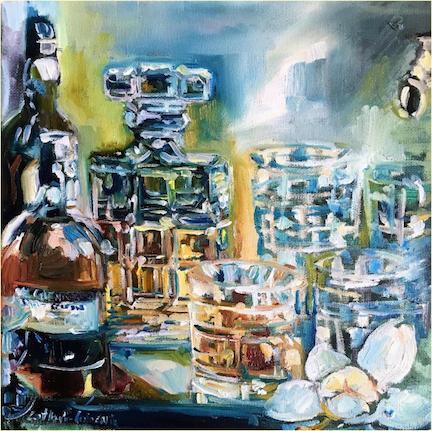 """Diamonds and Magnolia"" 12""x12"" Oil on Canvas"